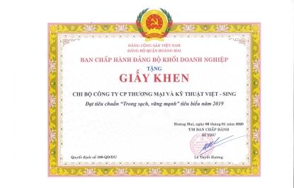 Chi bộ Đảng Việt-Sing 3 năm liên tiếp giành Giấy khen của Đảng bộ khối doanh nghiệp quận Hoàng Mai